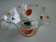 Wavy bowl featuring the best of Halloween - Ghosts, Pumpkins, and a Giant Spider